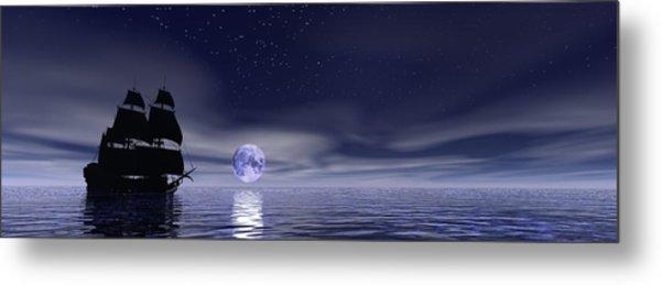 Sails Beneath The Moon Metal Print