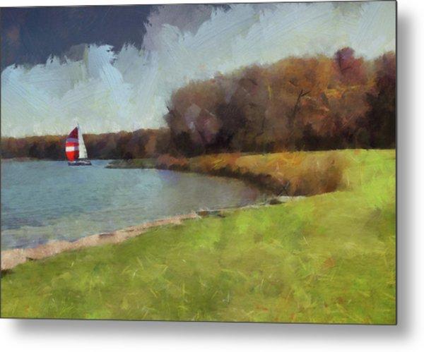 Sails On Lake Wampum Metal Print