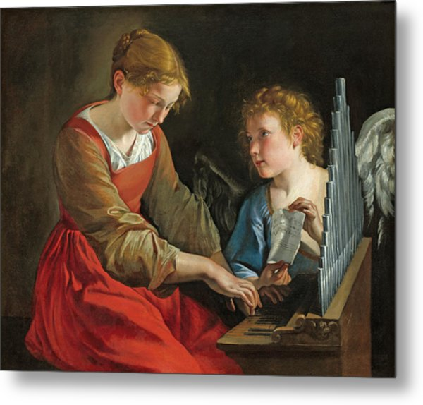 Saint Cecilia And An Angel Metal Print