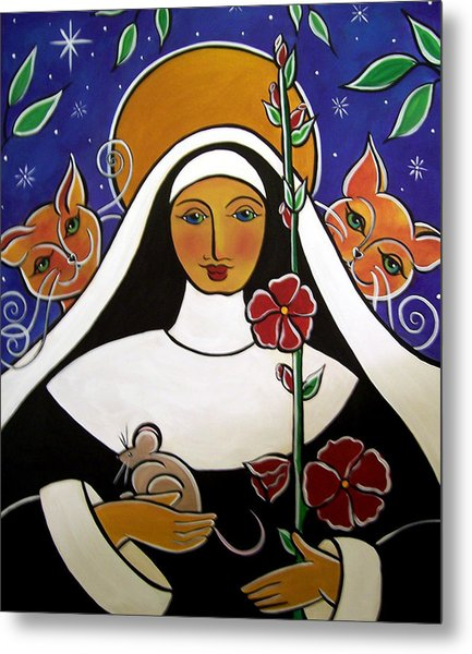 Metal Print featuring the painting Saint Gertrude Of Nivelles by Jan Oliver-Schultz