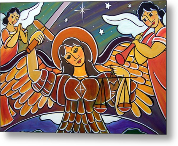 Metal Print featuring the painting Saint Michael - San Miguel by Jan Oliver-Schultz