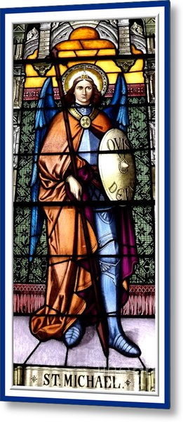 Metal Print featuring the photograph Saint Michael The Archangel Stained Glass Window by Rose Santuci-Sofranko