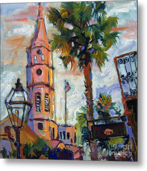 Saint Michaels Church Charleston Sc Oil Painting Metal Print