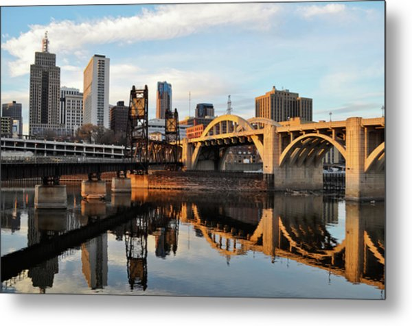 Saint Paul Mississippi River Sunset Metal Print