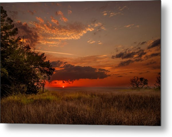 Saint Simons Island Salt Marsh Twilight Metal Print