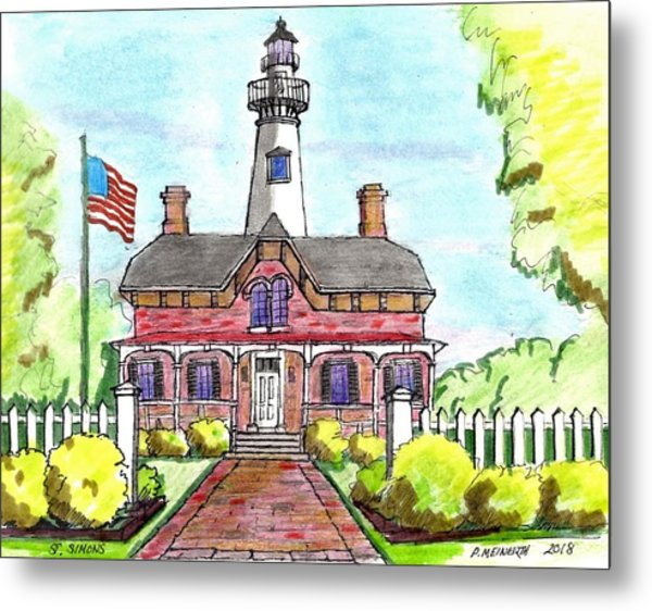 Saint Simons Lighthouse Metal Print by Paul Meinerth