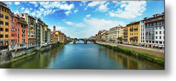 Panoramic View Of Saint Trinity Bridge From Ponte Vecchio In Florence, Italy Metal Print