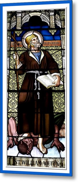 Saint William Of Aquitaine Stained Glass Window Metal Print