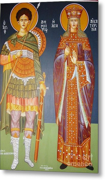 Saints Dimitrius And Aekaterina Metal Print by George Siaba