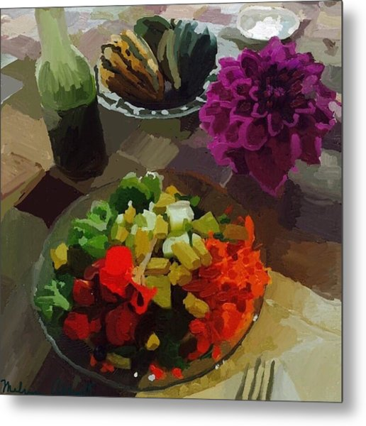 Salad And Dressing With Squash And Purple Dahlia Metal Print