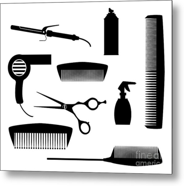 Salon Tools Metal Print