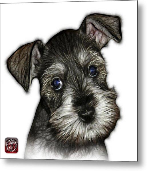 Metal Print featuring the digital art Salt And Pepper Schnauzer Puppy 7206 Fs by James Ahn