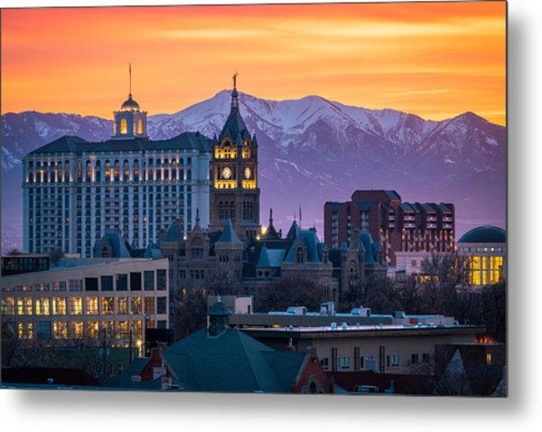 Salt Lake City Hall At Sunset Metal Print