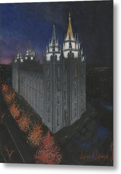 Salt Lake Temple Christmas Metal Print