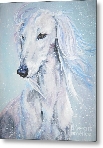 Saluki White Beauty Metal Print