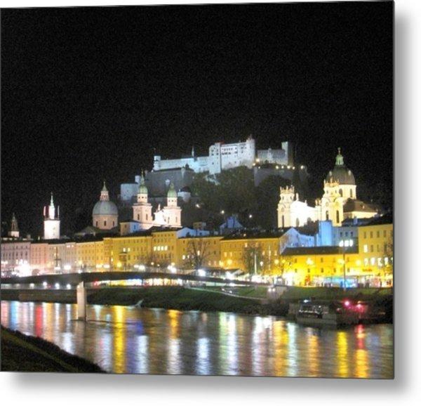 Salzburg At Night Metal Print