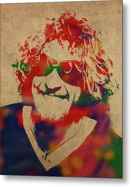 Sammy Hagar Van Halen Watercolor Portrait Metal Print