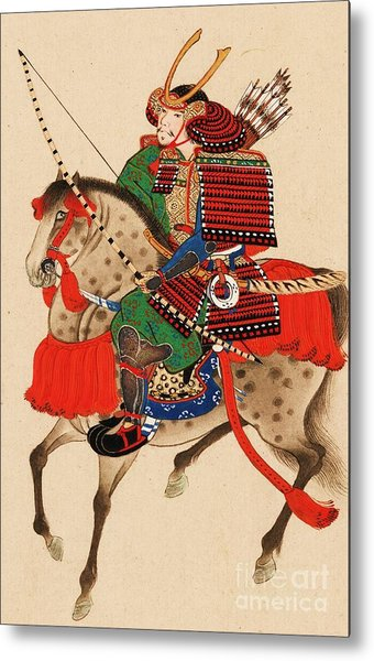 Samurai On Horseback Metal Print