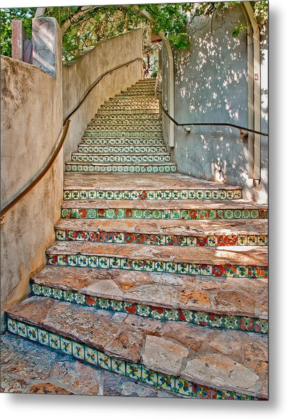 San Antonio Riverwalk Stairway Metal Print
