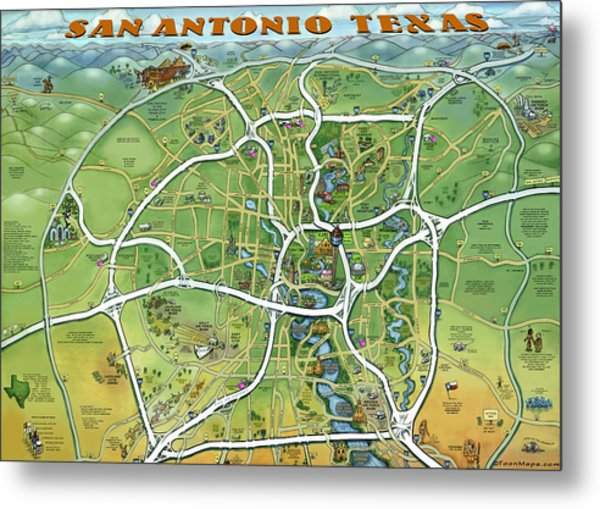 San Antonio Texas Cartoon Map Metal Print