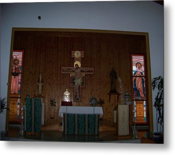 San Bernardo Abad,la Virgen Milagrosa Metal Print