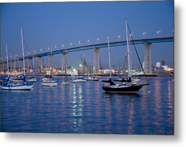 Metal Print featuring the photograph San Diego Bay At Nightfall by Margaret Pitcher