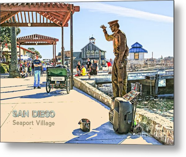 San Diego - Seaport Village Scene Metal Print