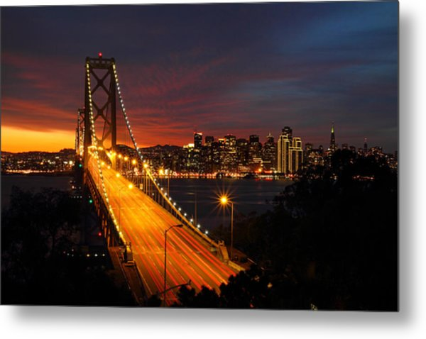 San Francisco Bay Bridge At Sunset Metal Print