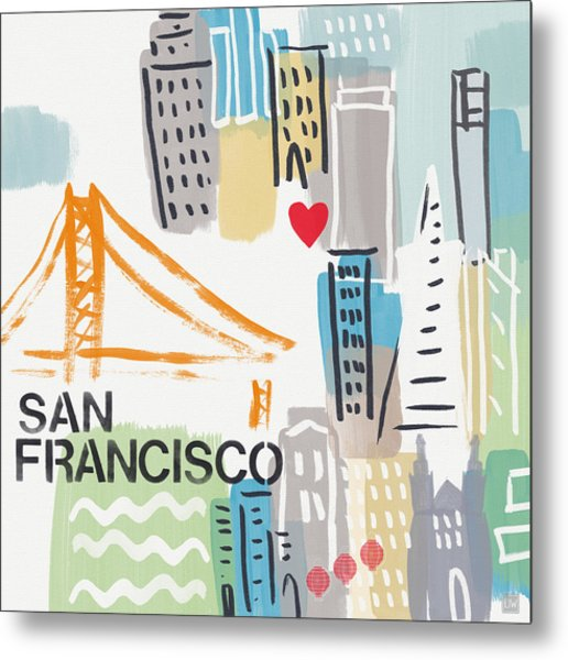 San Francisco Cityscape- Art By Linda Woods Metal Print