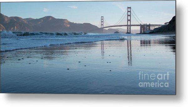 San Francisco Golden Gate Bridge Reflected On Baker's Beach Wet  Metal Print