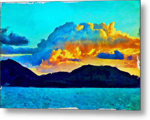 Metal Print featuring the painting San Juan Seascape by Joan Reese