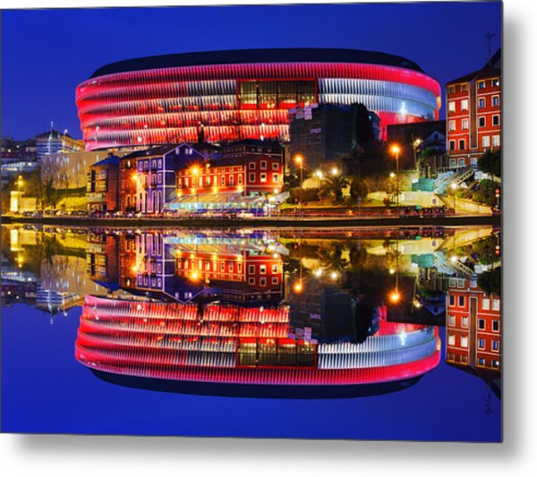 San Mames Stadium At Night With Water Reflections Metal Print