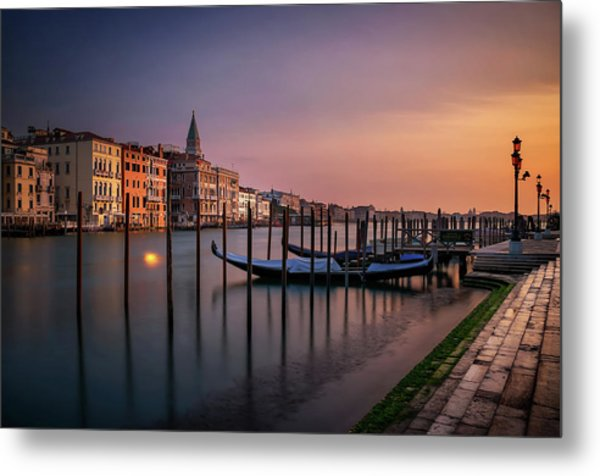 San Marco Campanile With Gondolas At Grand Canal During Calm Sunrise, Venice, Italy, Europe. Metal Print
