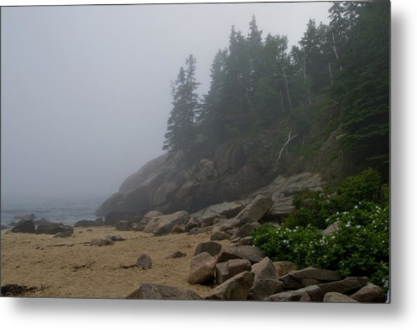 Sand Beach In A Fog Metal Print
