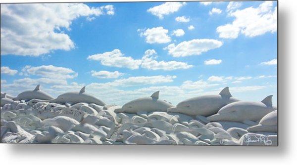 Sand Dolphins At Siesta Key Beach Metal Print
