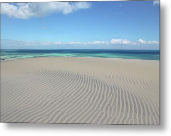 Sand Dune Ripples And The Ocean Beyond Metal Print