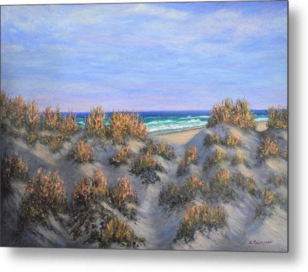 Sand Dunes Sea Grass Beach Painting Metal Print