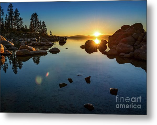 Sand Harbor Sunset Metal Print