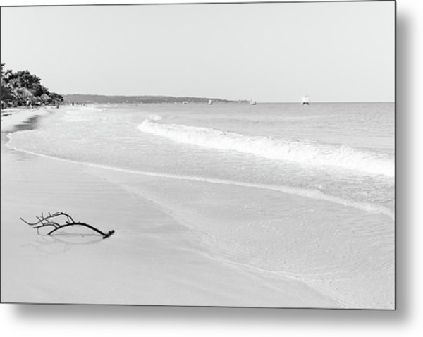 Sand Meets The Sea In Black And White Metal Print