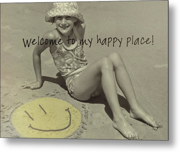 Sand Smile Quote Metal Print by JAMART Photography