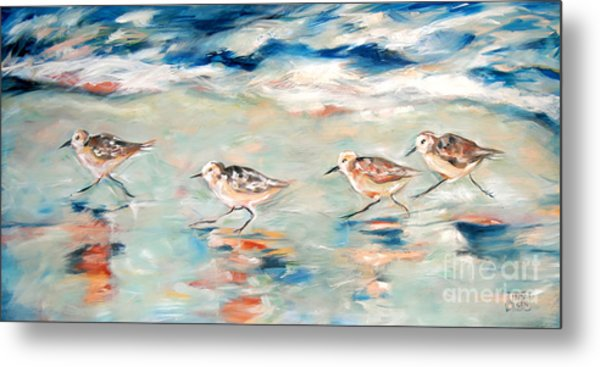 Sandpipers Running Metal Print