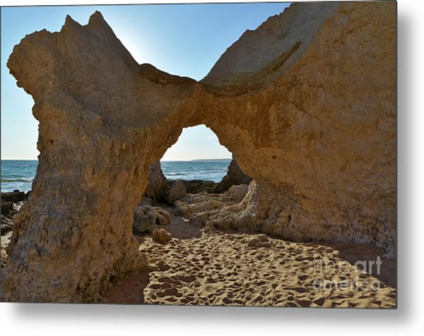 Sandstone Arch In Gale Beach. Algarve Metal Print
