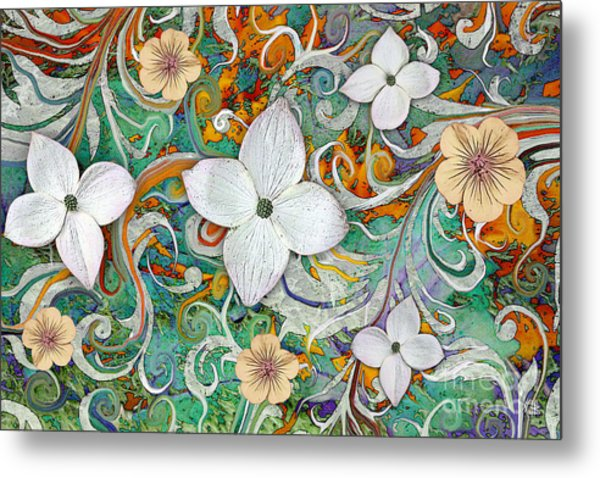 Metal Print featuring the mixed media Sangria Flora by Christopher Beikmann