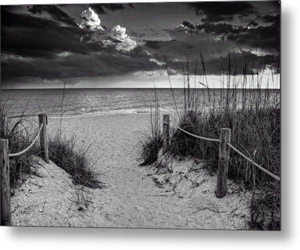 Sanibel Island Beach Access In Black And White Metal Print
