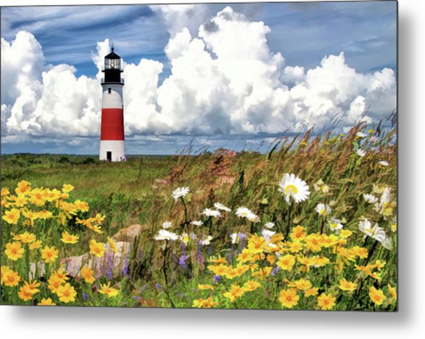 Metal Print featuring the painting Sankaty Head Lighthouse by Christopher Arndt