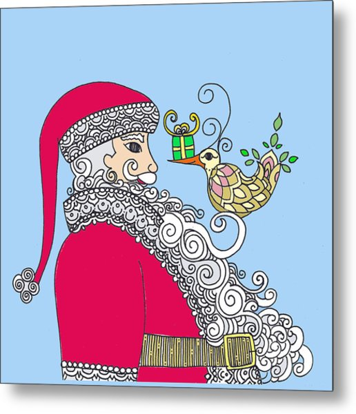 Santa And Bird On Blue Metal Print