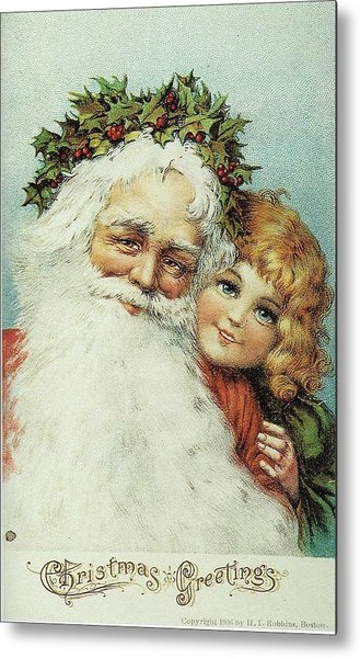 Santa And His Little Admirer Metal Print