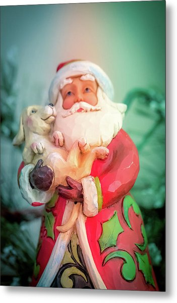 Santa And Lab Pup Metal Print