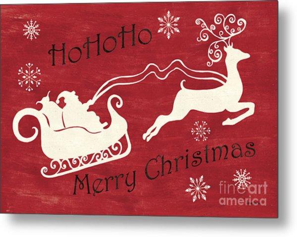 Santa And Reindeer Sleigh Metal Print