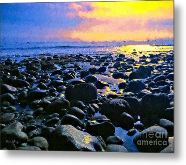 Santa Barbara Beach Sunset California Metal Print